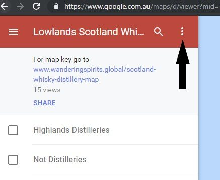 Screen shot of Scotland Whisky Map Menu for print, save and export options